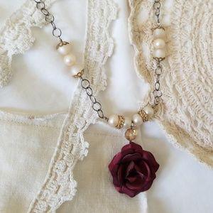 OOAK Vintage Rose & Pearl Necklace